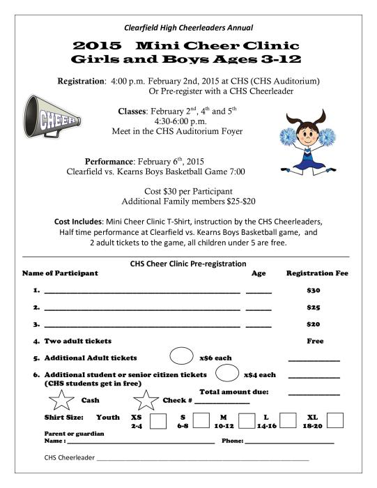 2015 Mini Cheer Clinic Girls and Boys : School - school - South ...