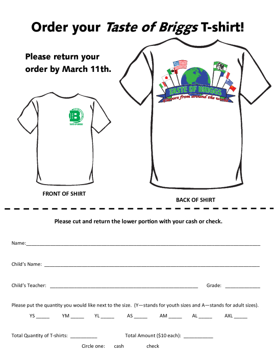 Taste of Briggs Tshirt Order Form Parent Groups school – T Shirt Order Form