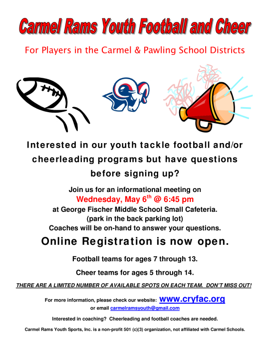 Carmel Rams Youth Football and Cheer : Football - school -