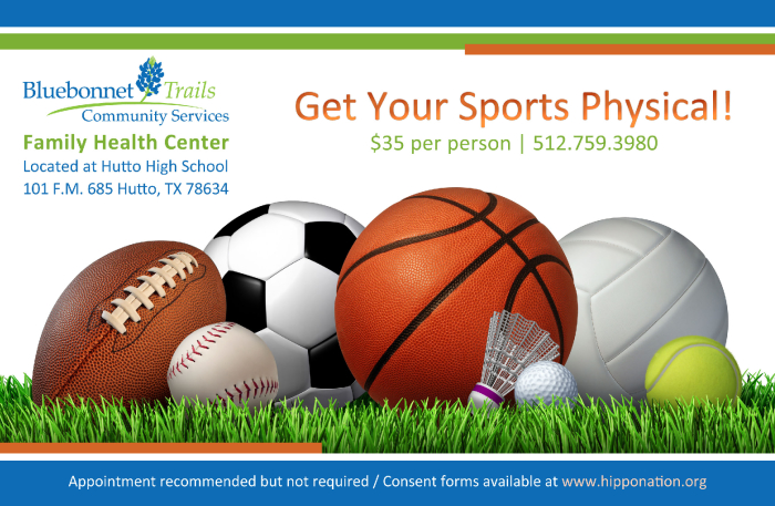 Get Your Sports Physical School school Hutto Elementary School – Sports Flyer