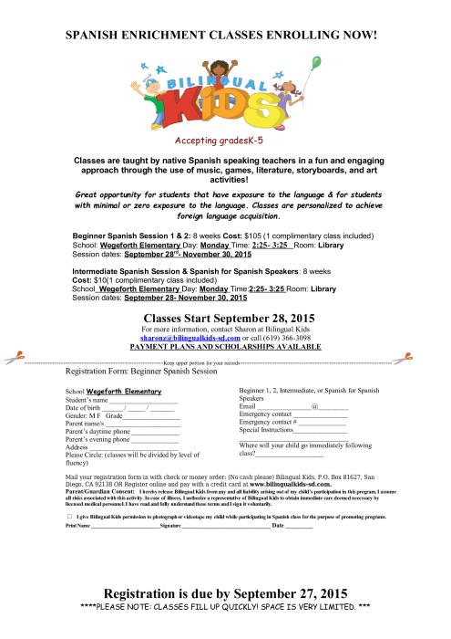 Spanish Enrichment Program at Wegeforth Elementary : Foreign