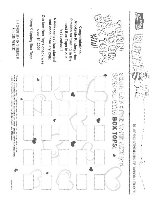 February Box Top Form : School - school - Brookside Elementary