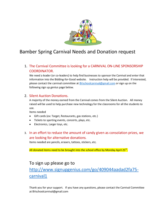 Carnival Needs and Donation Request : School - school -