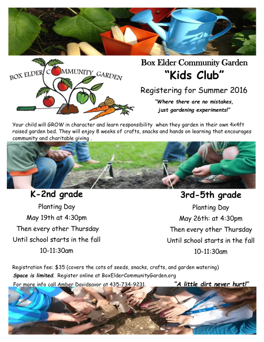 Click the flyer below to view all pages. Box Elder Community Garden Kids Club   Other   school