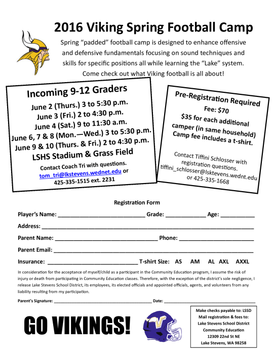 LSHS Spring Football Camp  SIgnup Today  School  school