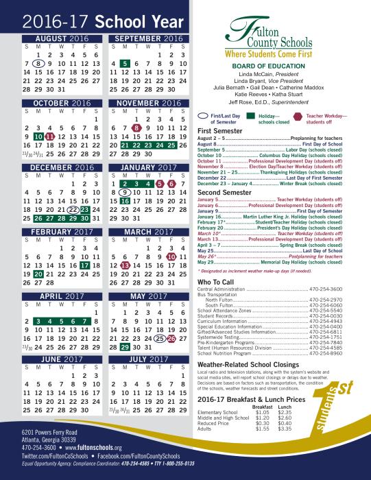 Fulton County Schools 2016-17: Calendar : School - school ...