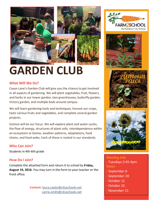 Click the flyer below to view all pages. Cason Lane Garden Club Flyer and Application   School   school
