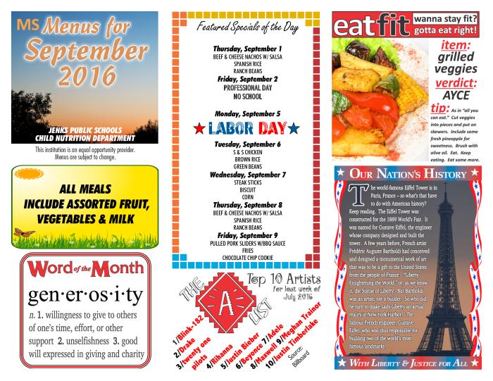 Revised Middle School September Plate Lunch Calendar