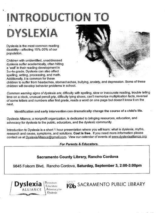 Introduction to Dyslexia -Sacramento Public Library : School - school -