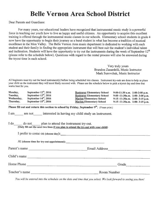 Band SignUp Sheet For Grade   School  School