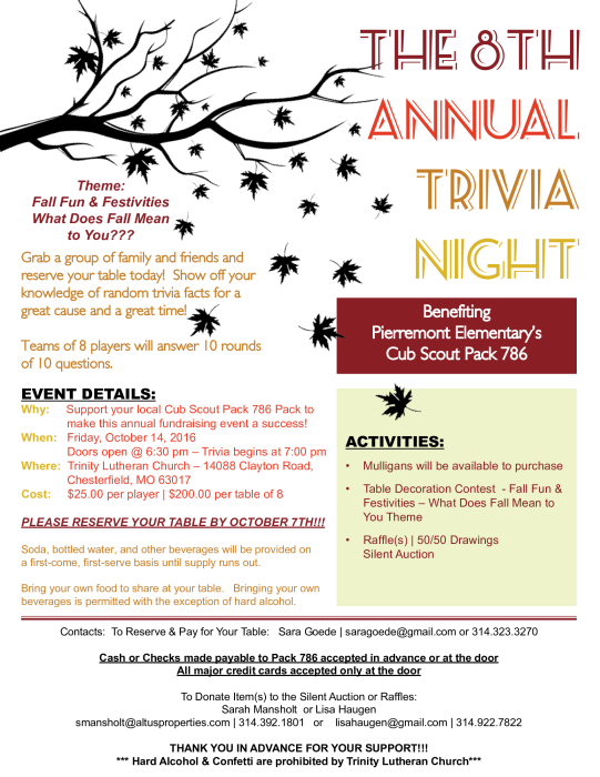 Cub Scout Pack 786 Annual Trivia Night & Silent Auction
