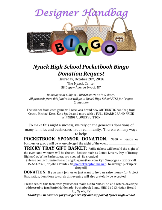 Pocketbook Bingo - Donation Request Form : Parent Groups - School -