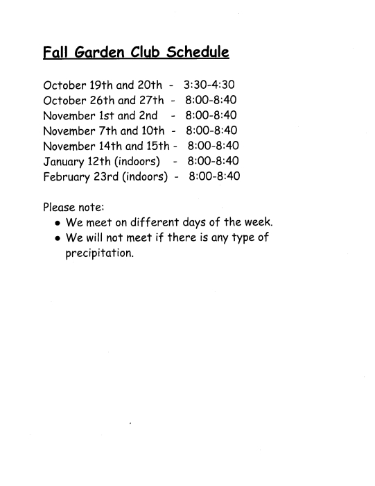Click the flyer below to view all pages. FALL GARDEN CLUB   School   school
