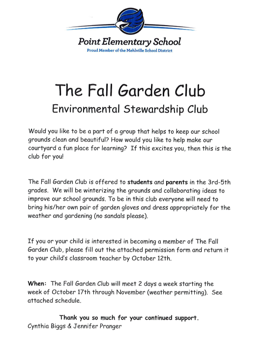 Click the flyer below to view all pages. Point Fall Garden Club   School   school