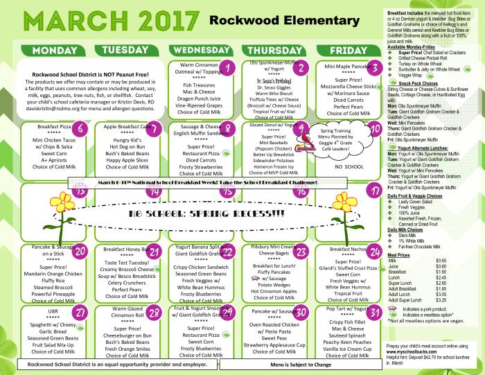 Elementary School Menus - March : School - school - Woerther ...