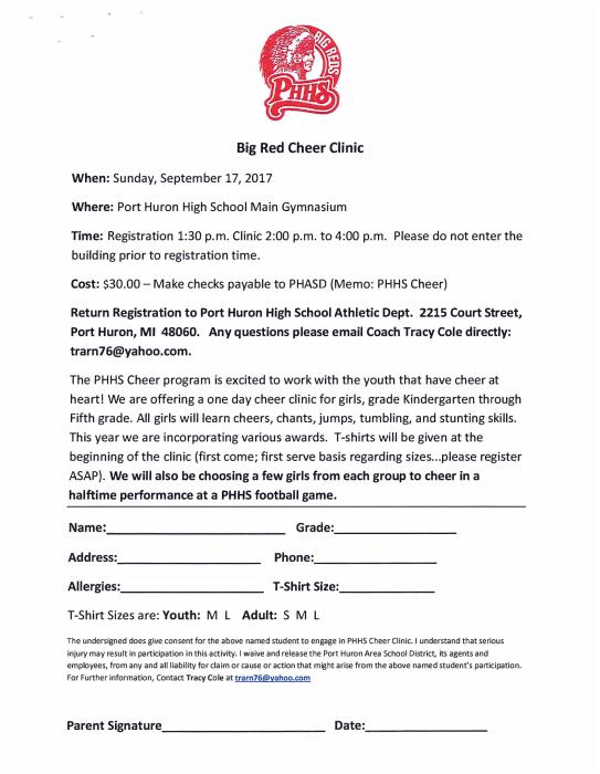 PHHS Big Red Cheer Clinic : School - school -