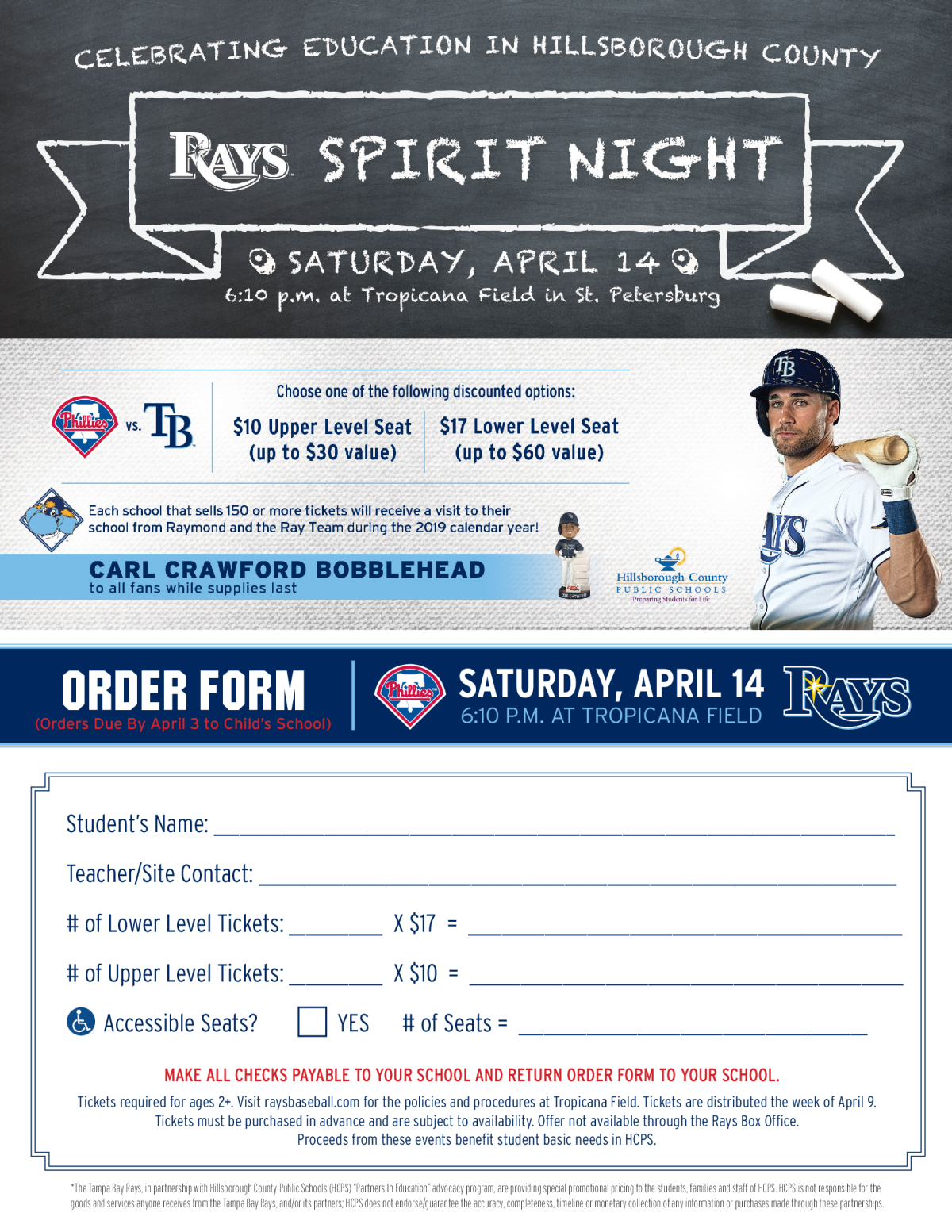 Image of a flyer titled Tampa Bay Rays Spirit Night-Support Our Students-April 14th