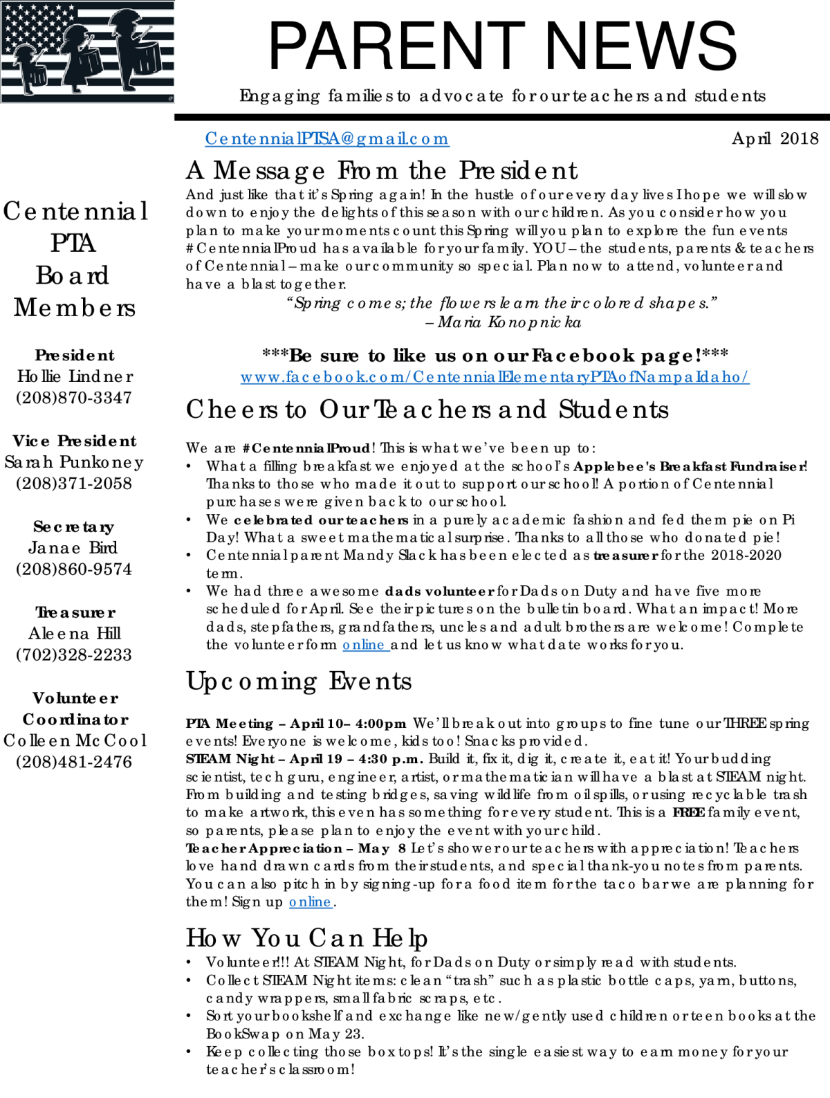 Image of a flyer titled April PTSA Newsletter