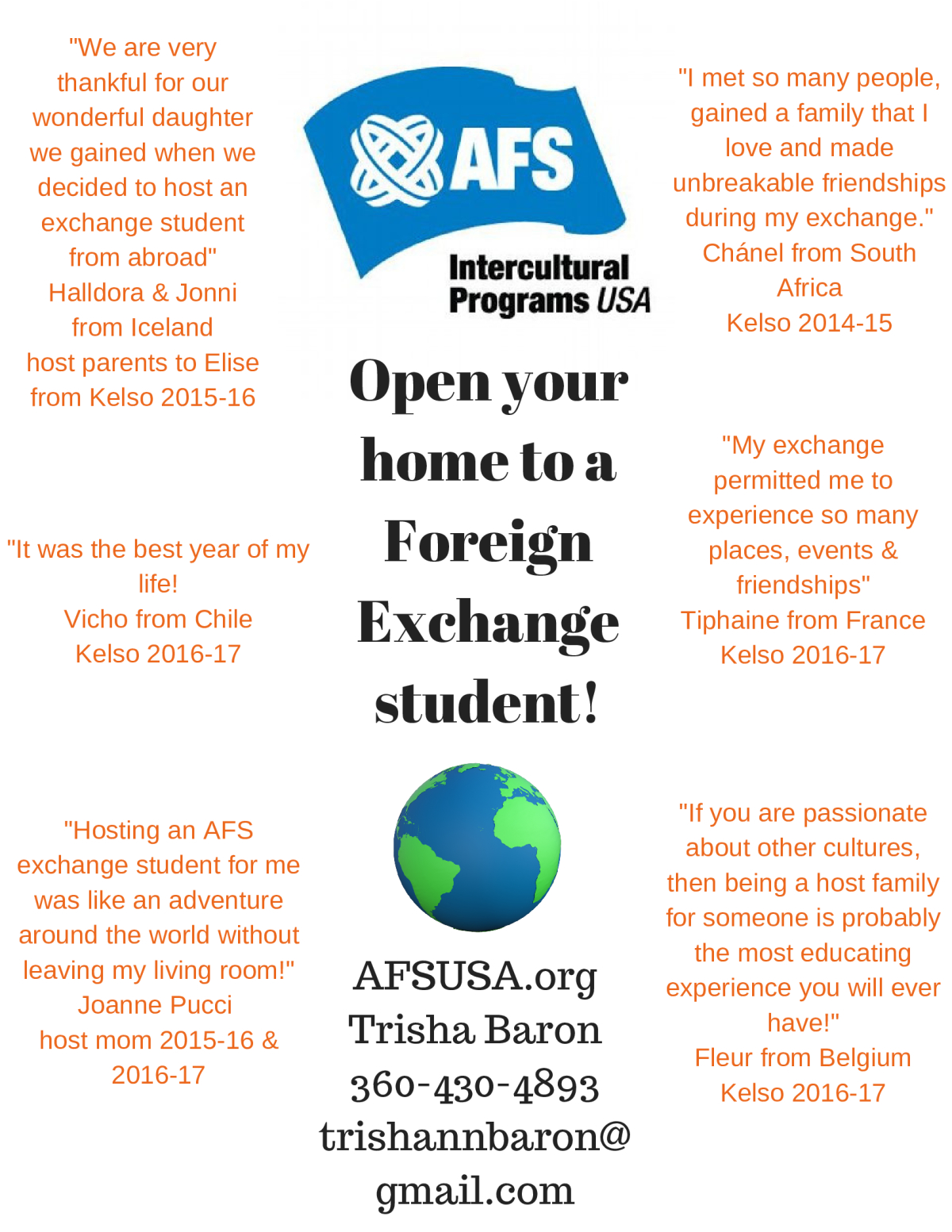 Image of a flyer titled AFS Hosting Opportunity