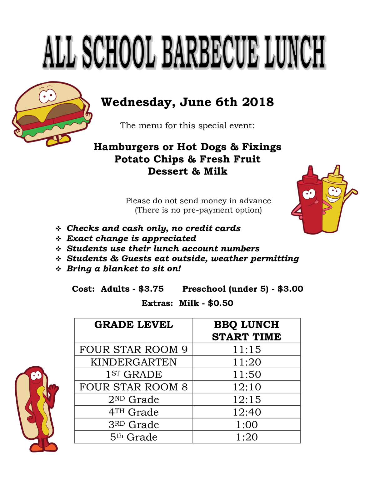 Image of a flyer titled All-School BBQ