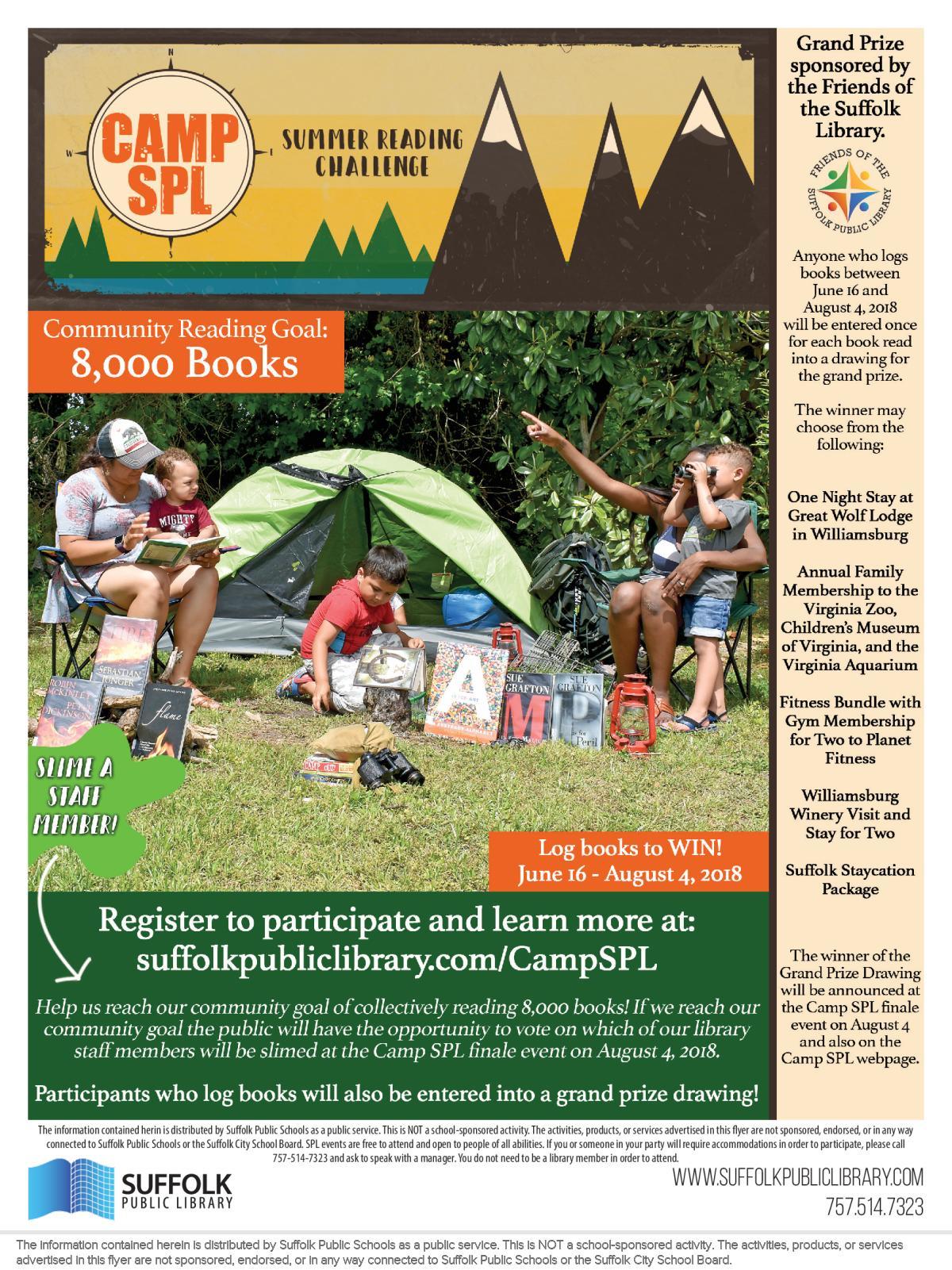 Image of a flyer titled Camp SPL Summer Reading Challenge