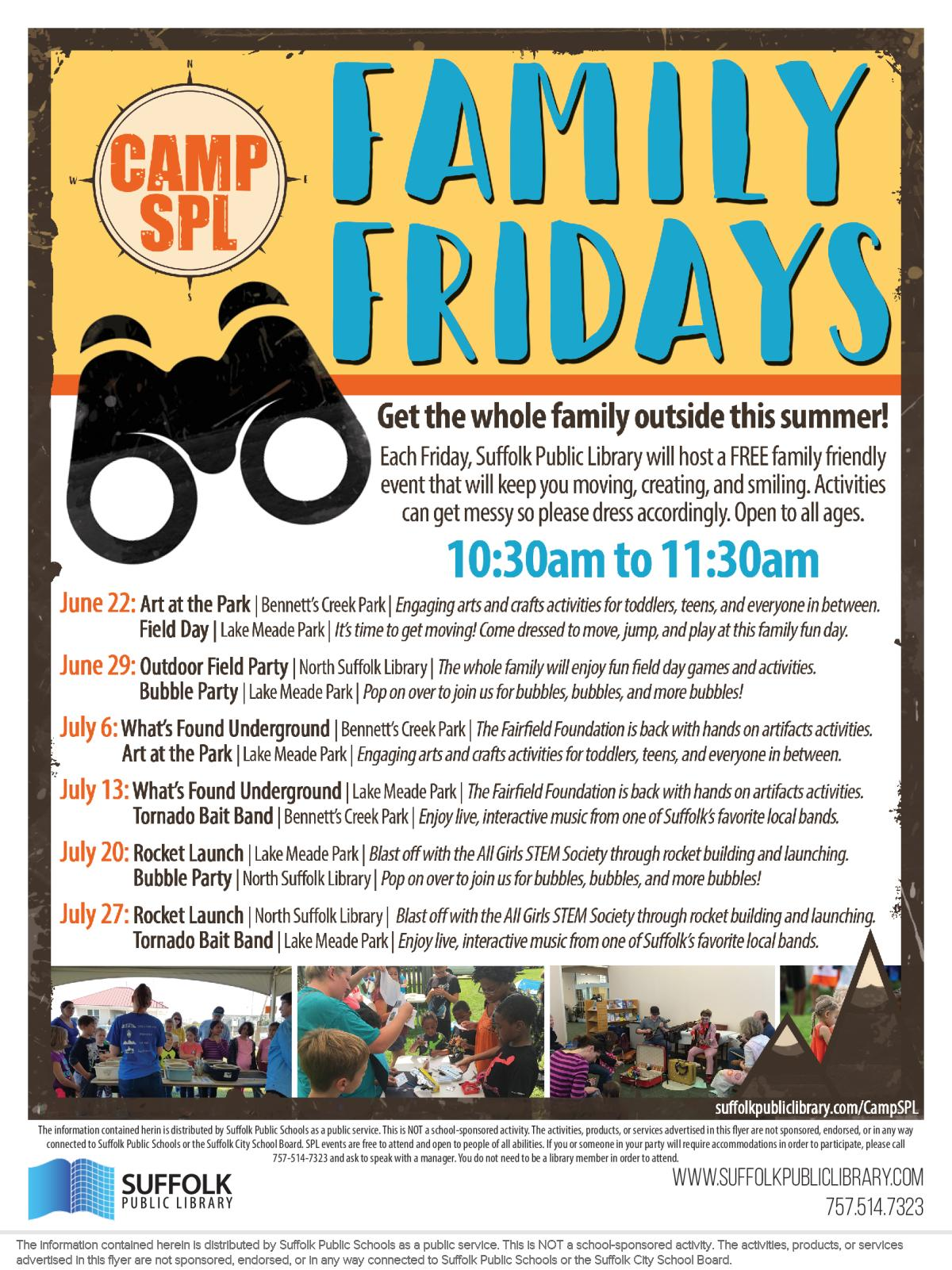Image of a flyer titled Camp SPL Family Fridays