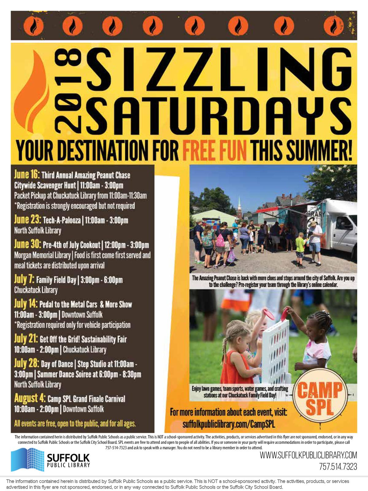 Image of a flyer titled Camp SPL Sizzling Saturdays Community Events
