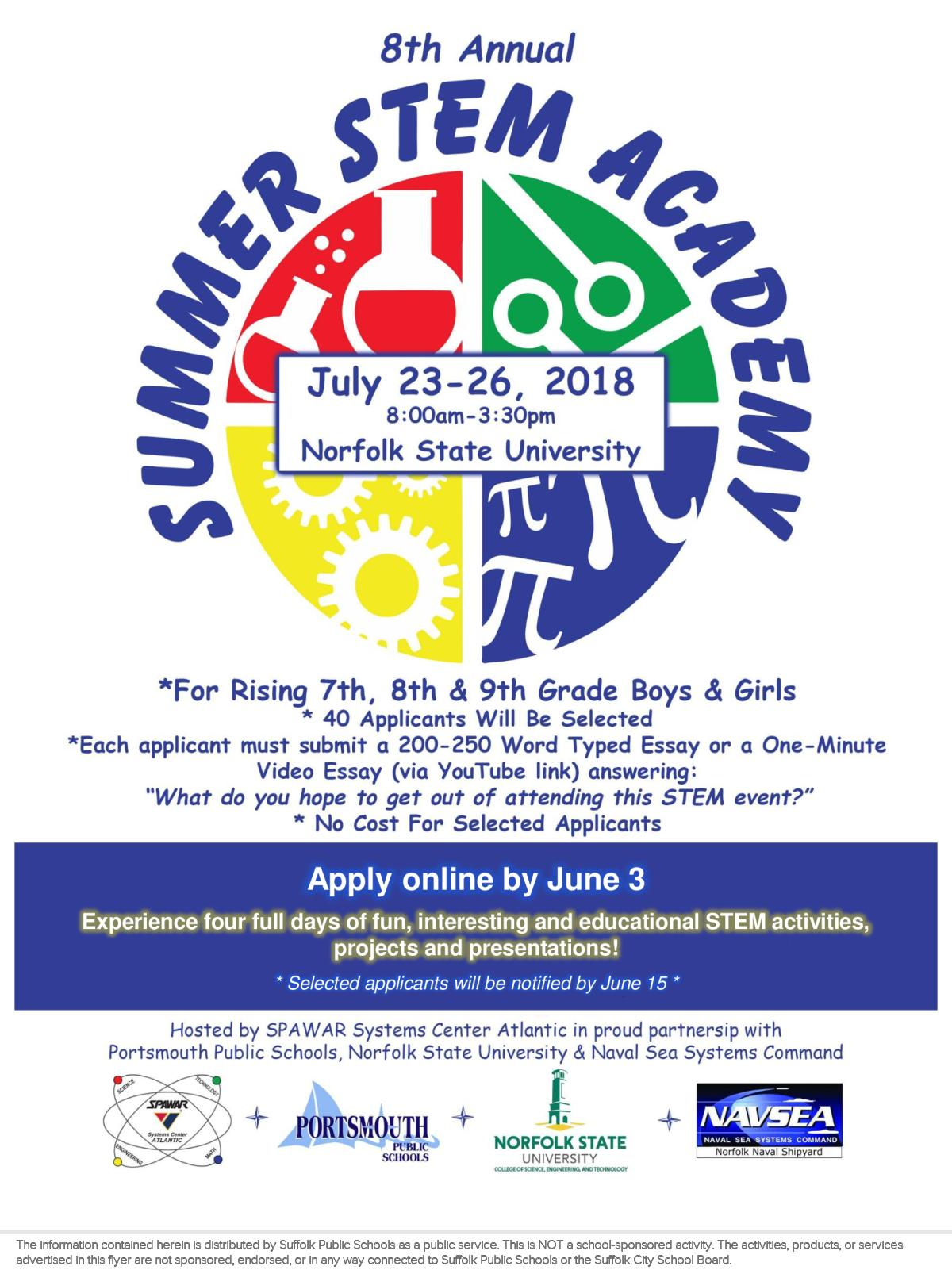 Image of a flyer titled SPAWAR Summer STEM Academy