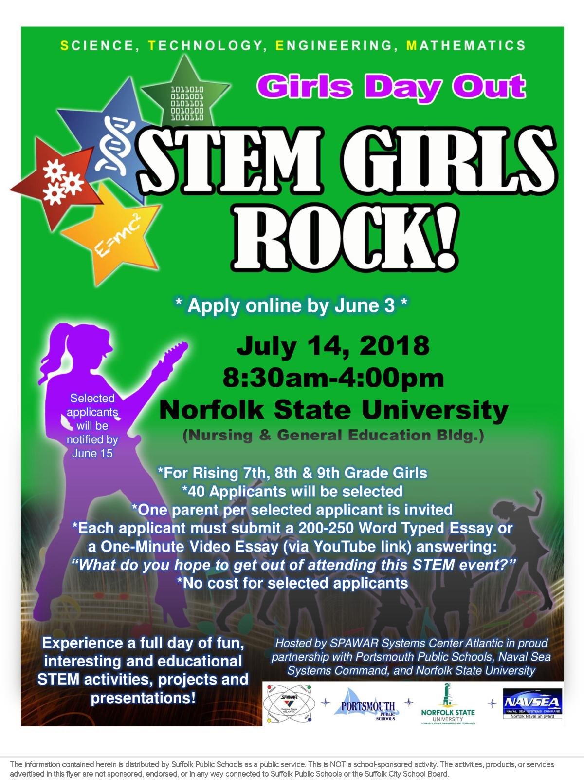 Image of a flyer titled SPAWAR STEM Girls Rock - Girls Day Out