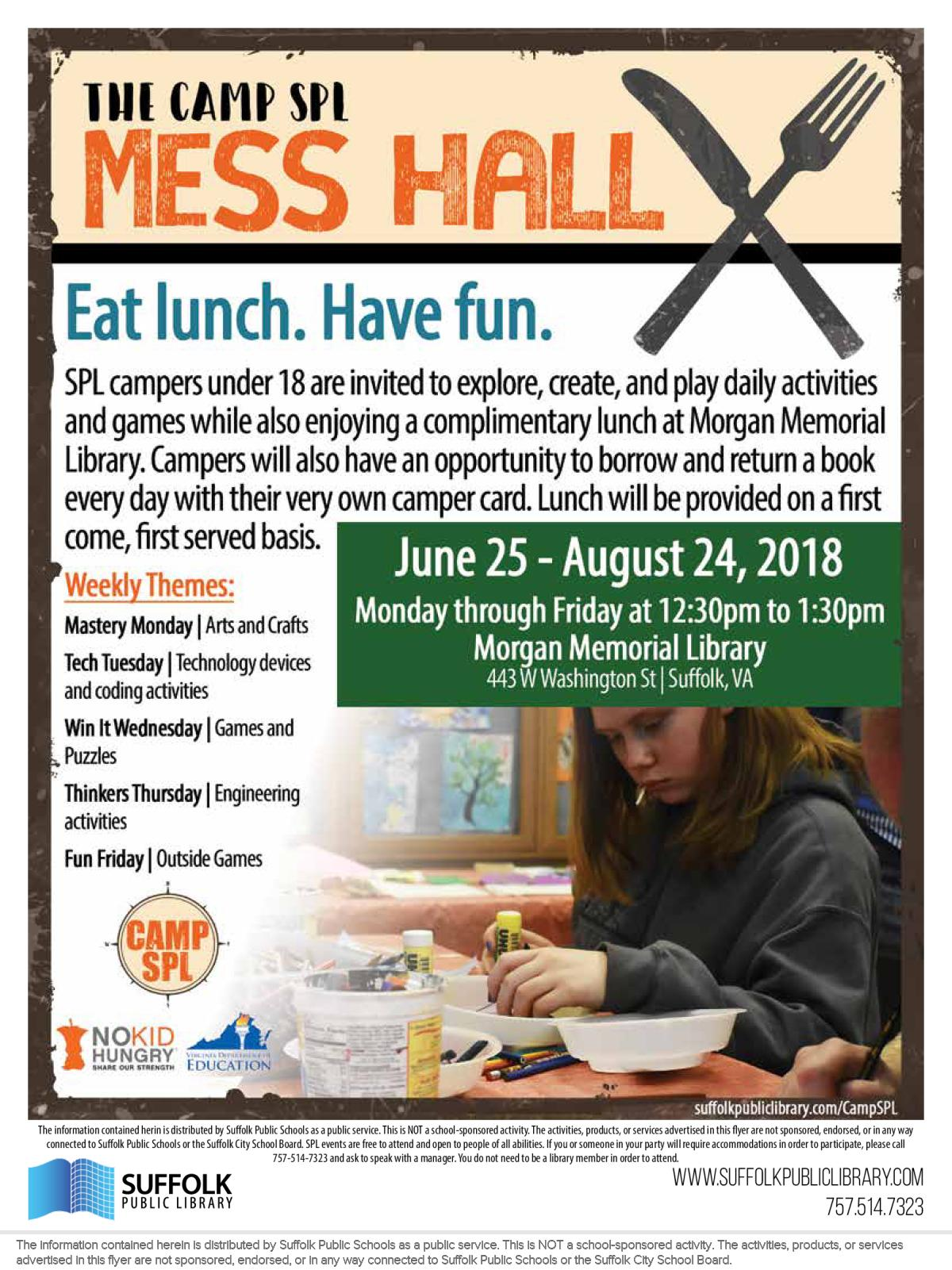 Image of a flyer titled The Camp SPL Mess Hall (Eat Lunch. Have Fun.)