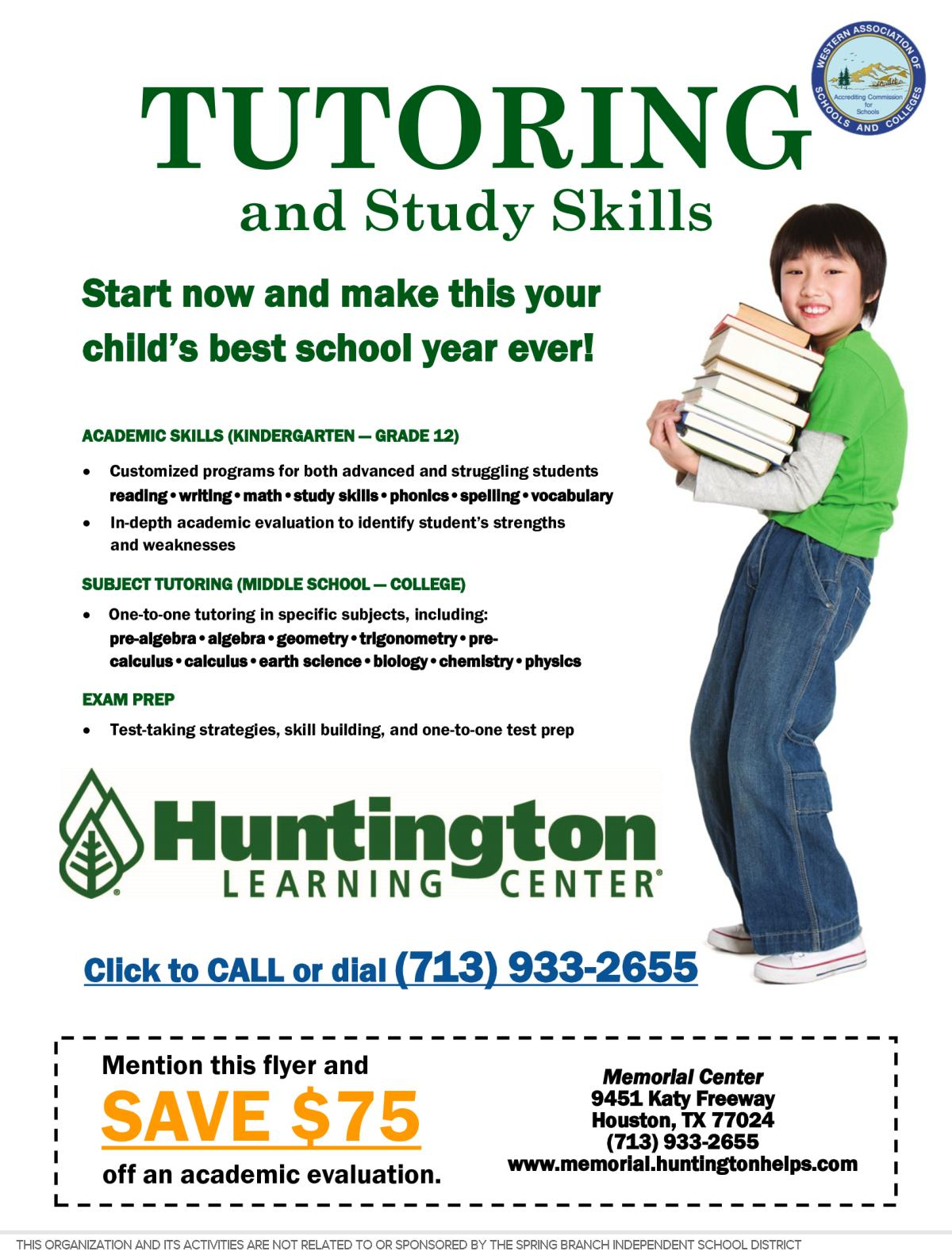 Image of a flyer titled Tutoring and Study Skills