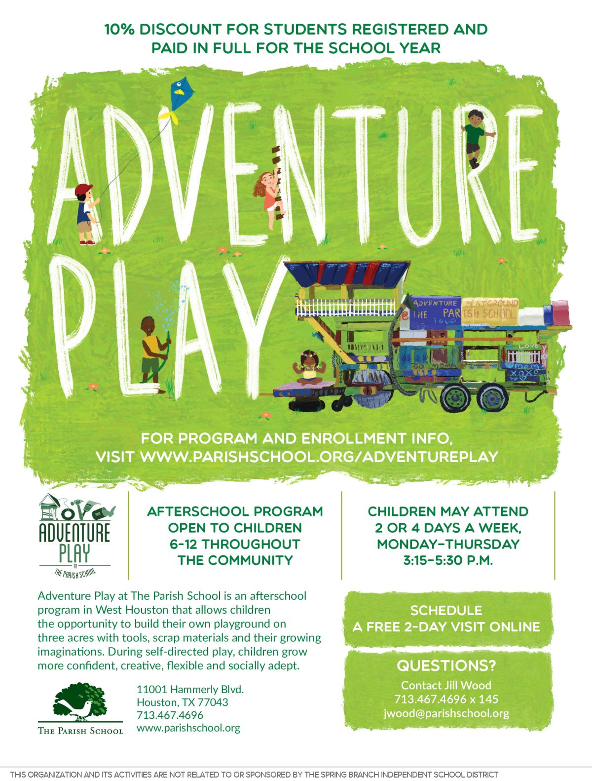 Image of a flyer titled Adventure Play Afterschool Program