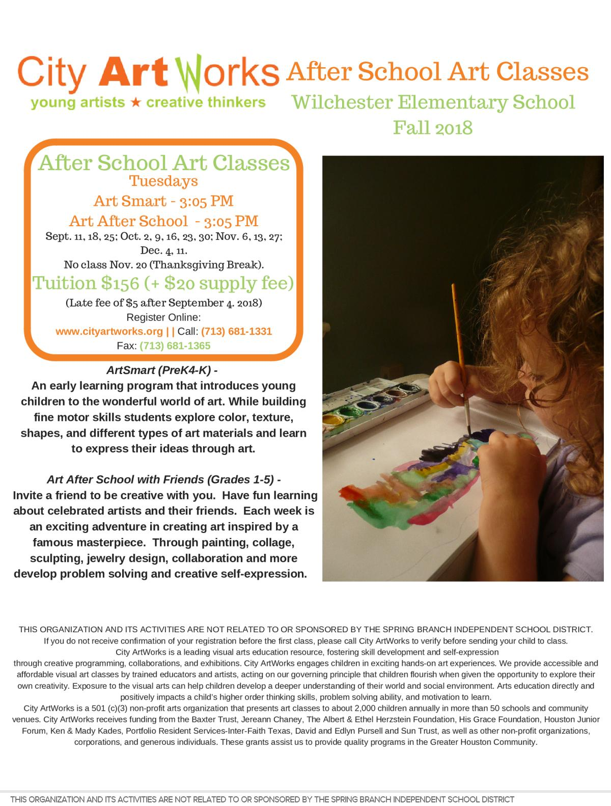 Image of a flyer titled Art After School Fall Classes