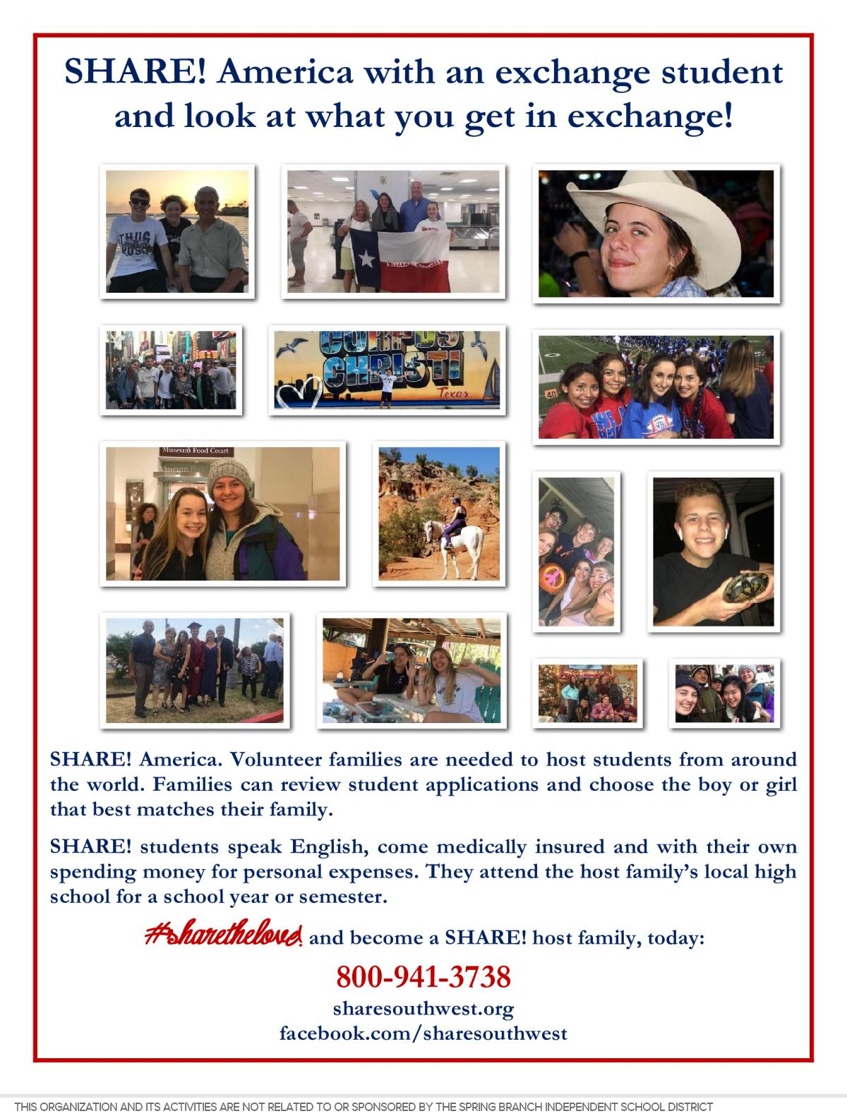Image of a flyer titled SHARE! Your Heart & Home with a High School Exchange Student