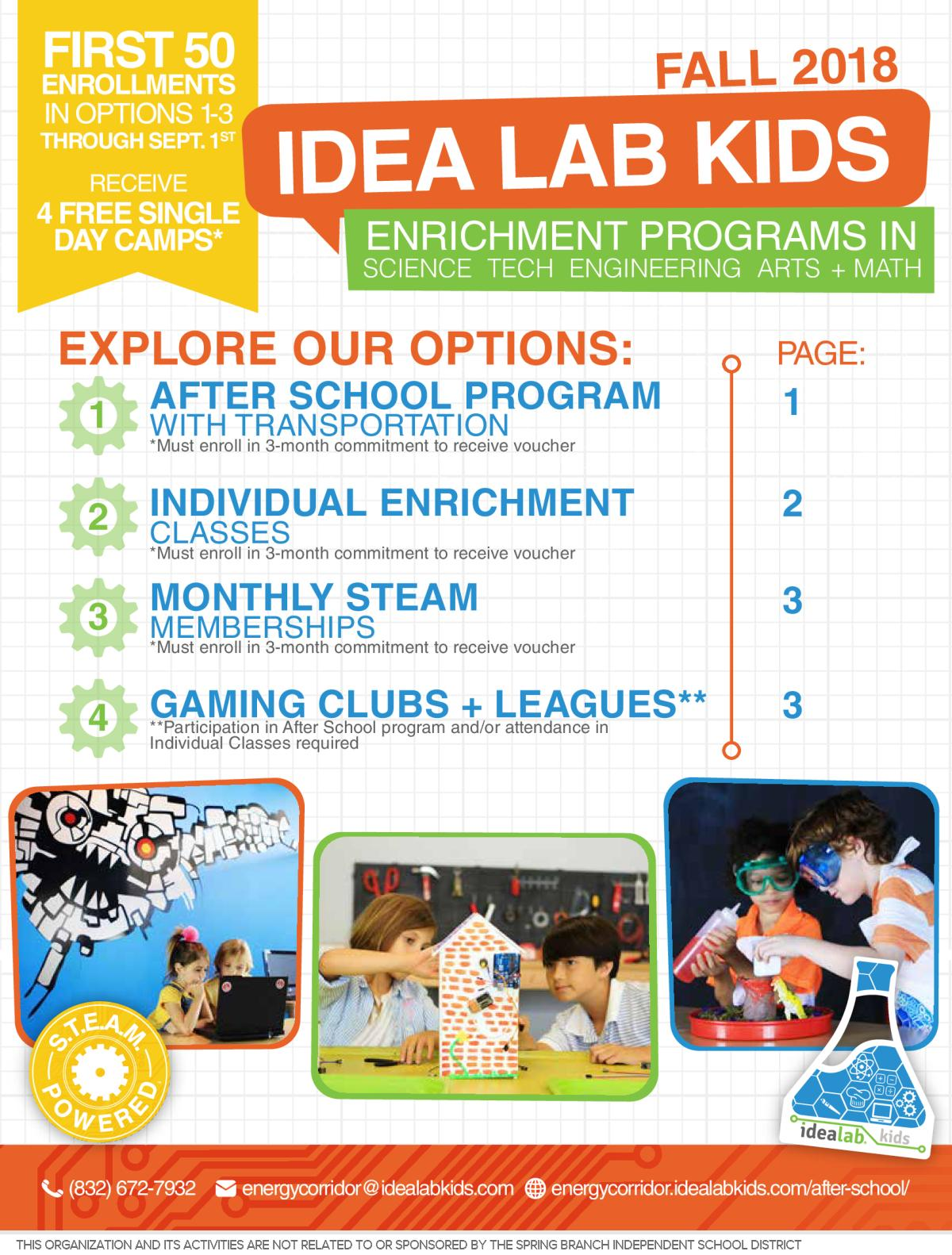 Image of a flyer titled IDEA Lab Enrichment Programs for After School - FALL 2018