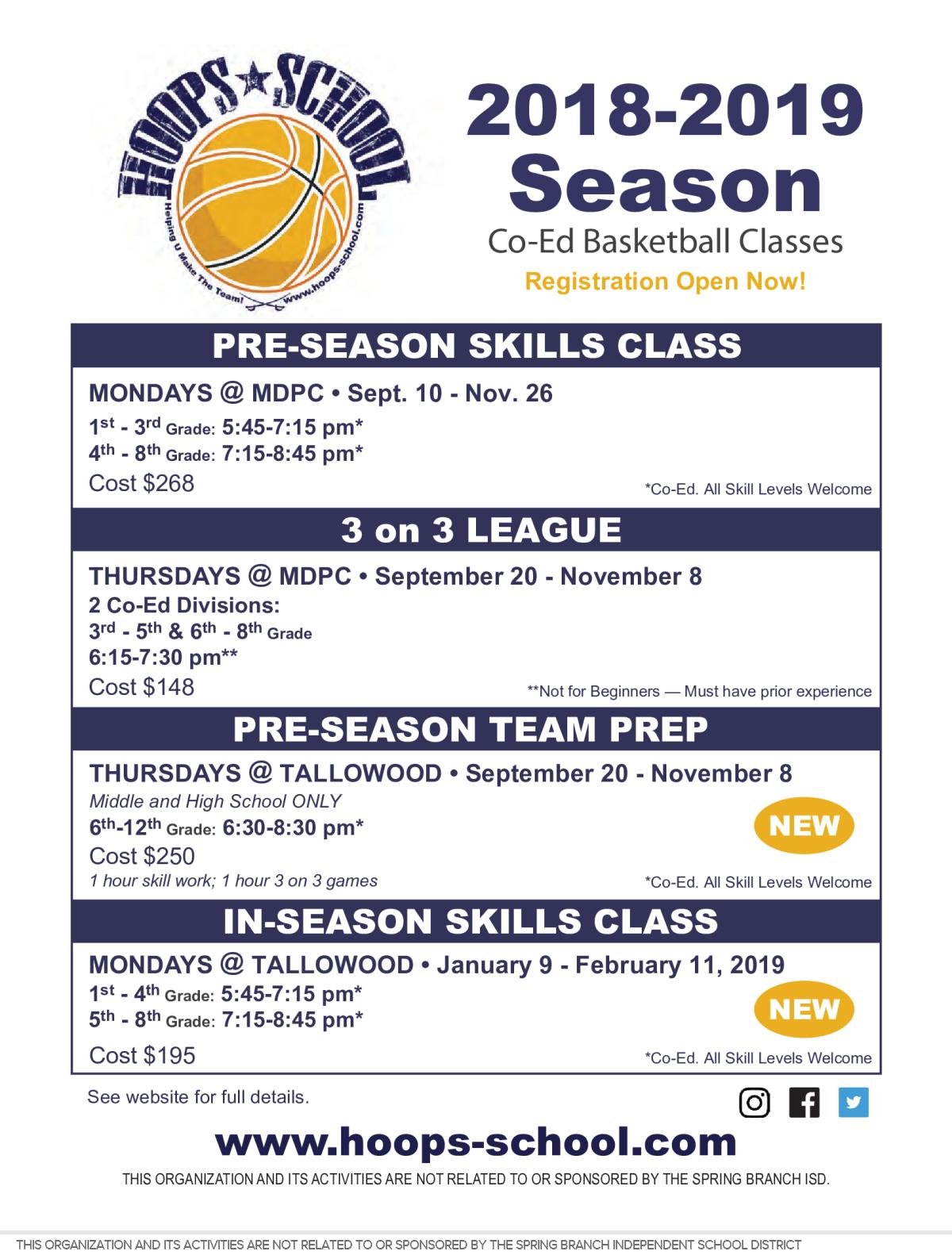 Image of a flyer titled Hoops School Basketball- Fall and Winter Classes