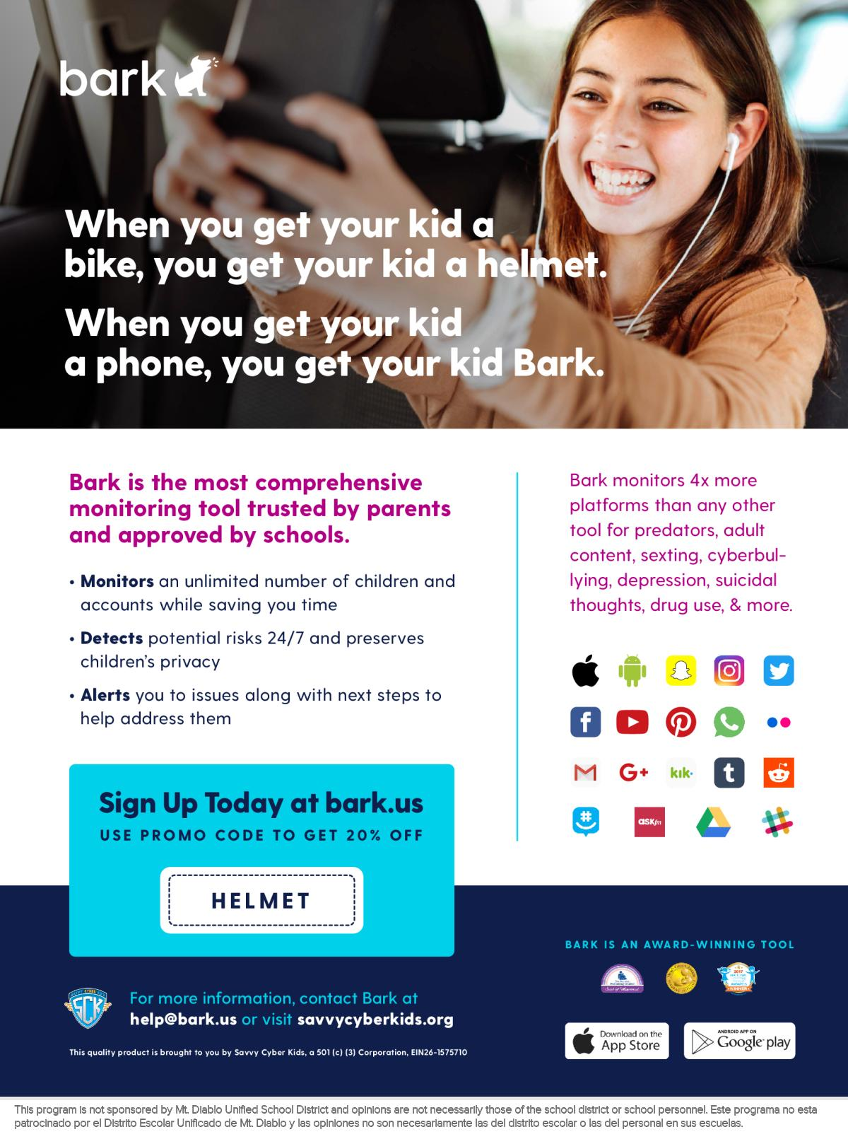 Image of a flyer titled Check out the smart way to keep your kids safer online