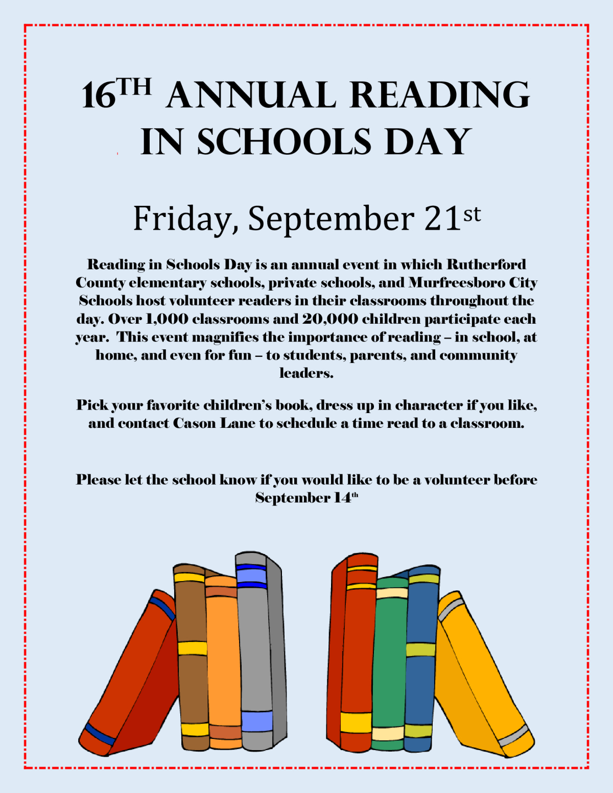 Image of a flyer titled Reading in Schools Day