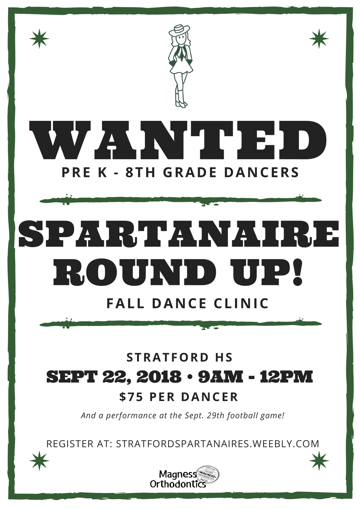 Image of a flyer titled Stratford Spartanaire Fall Dance Clinic