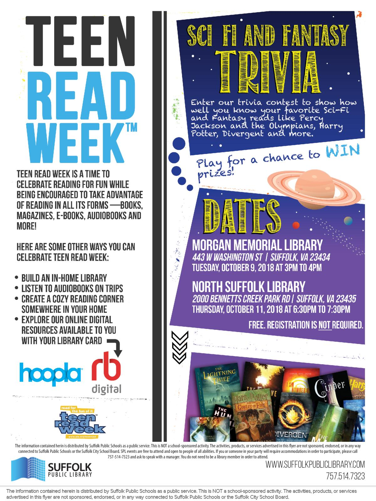 Image of a flyer titled Teen Read Week Sci-Fi and Fantasy Trivia