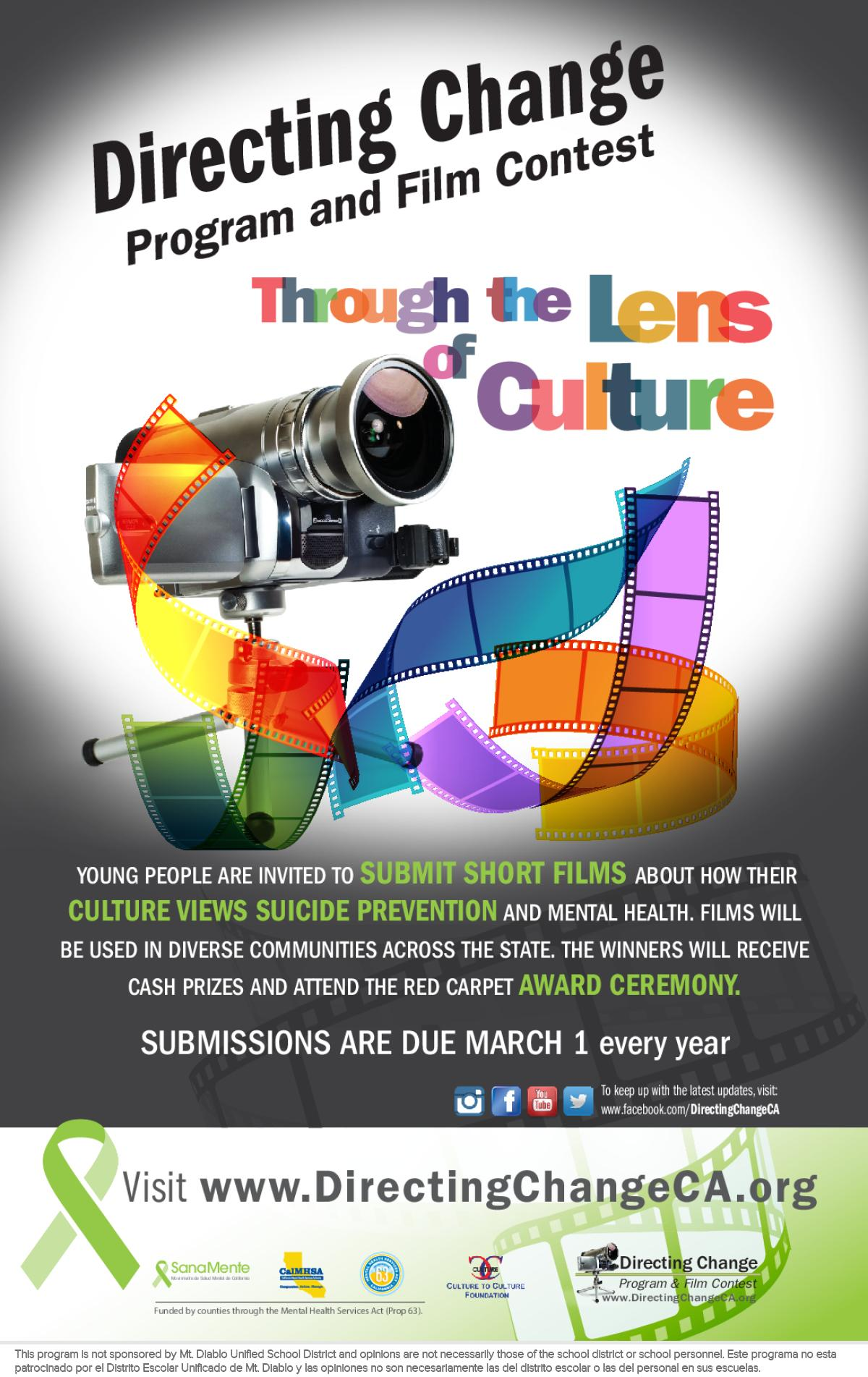 Image of a flyer titled 2019 Directing Change Through Lens of Culture Film Contest