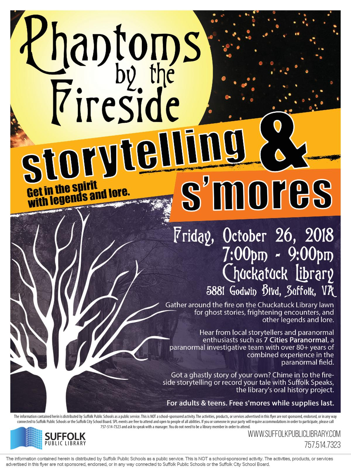 Image of a flyer titled Phantoms by the Fireside Storytelling & S'mores