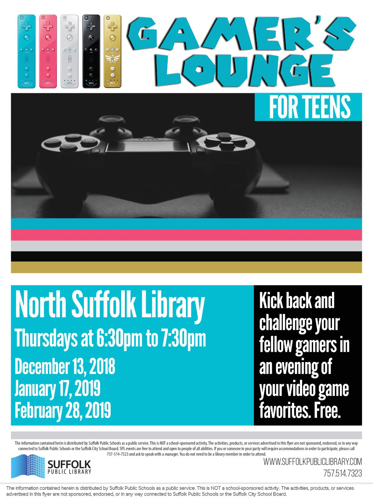 Image of a flyer titled Teen Gamer's Lounge