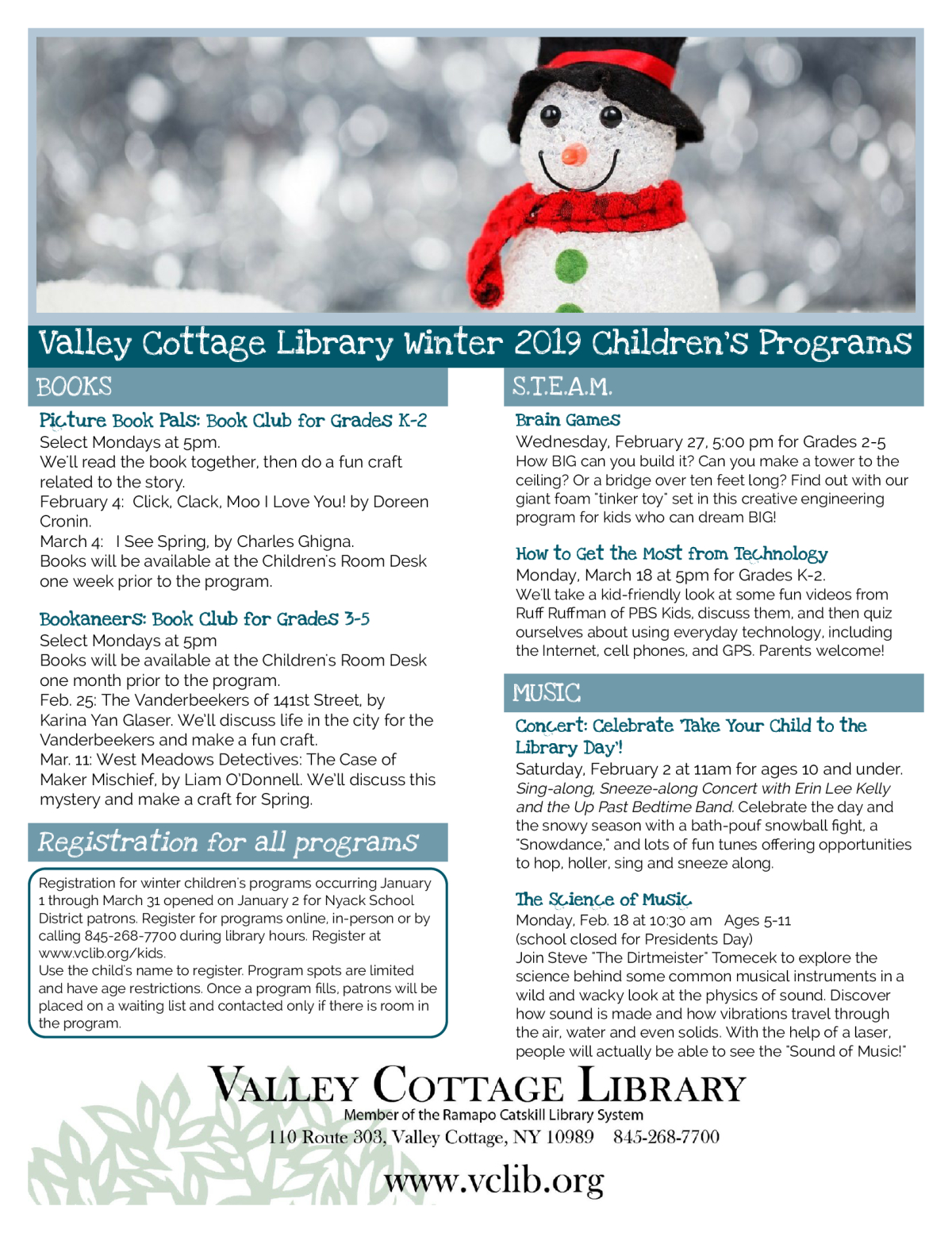 Image of a flyer titled Valley Cottage Library Winter 2019 Children's Programs