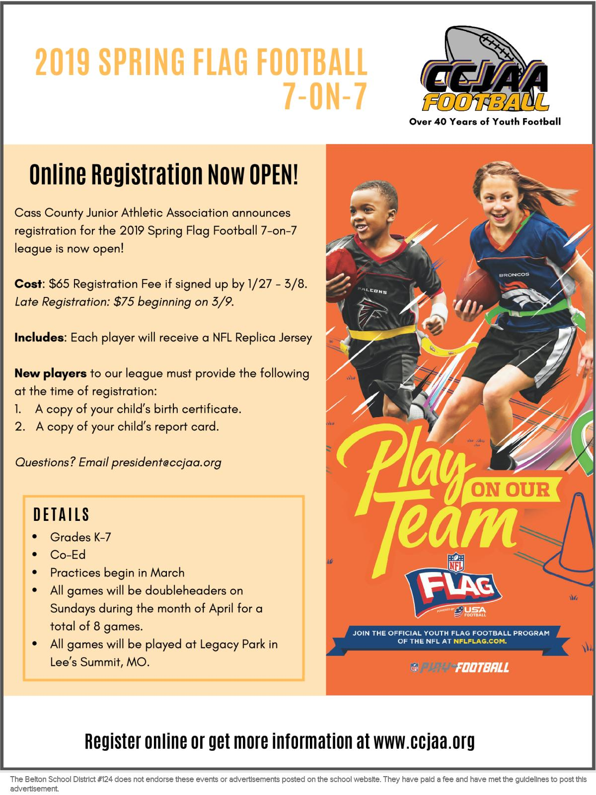 8be5a2046 2019 CCJAA Spring Flag Football Registration NOW OPEN