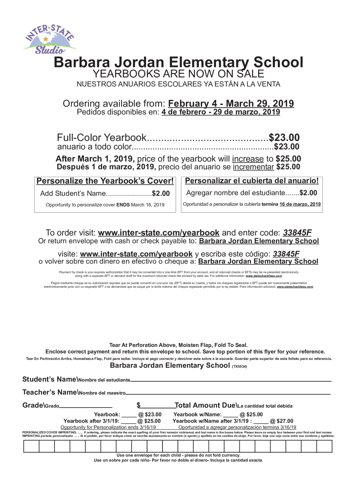 db84b1bc75ec Image of a flyer titled Yearbook Order Form