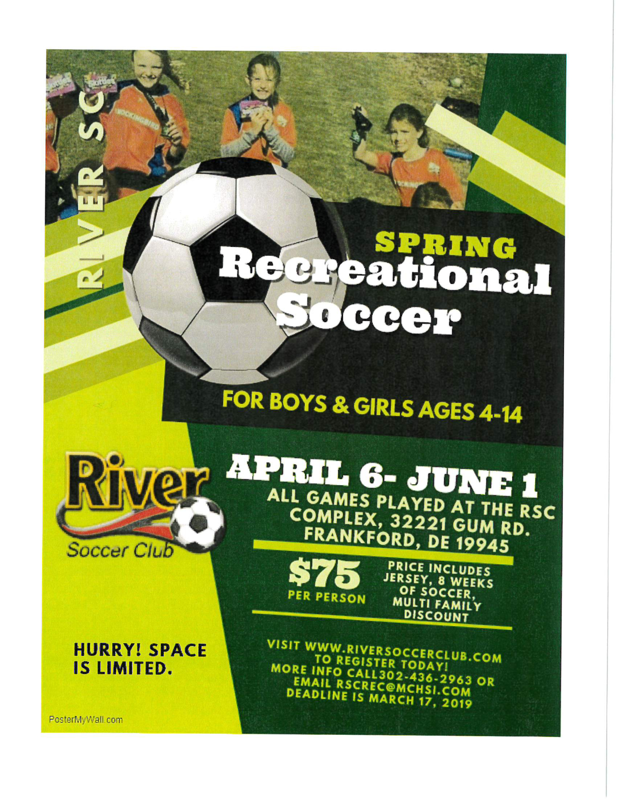 6066b0f1395 Image of a flyer titled River Soccer Spring League