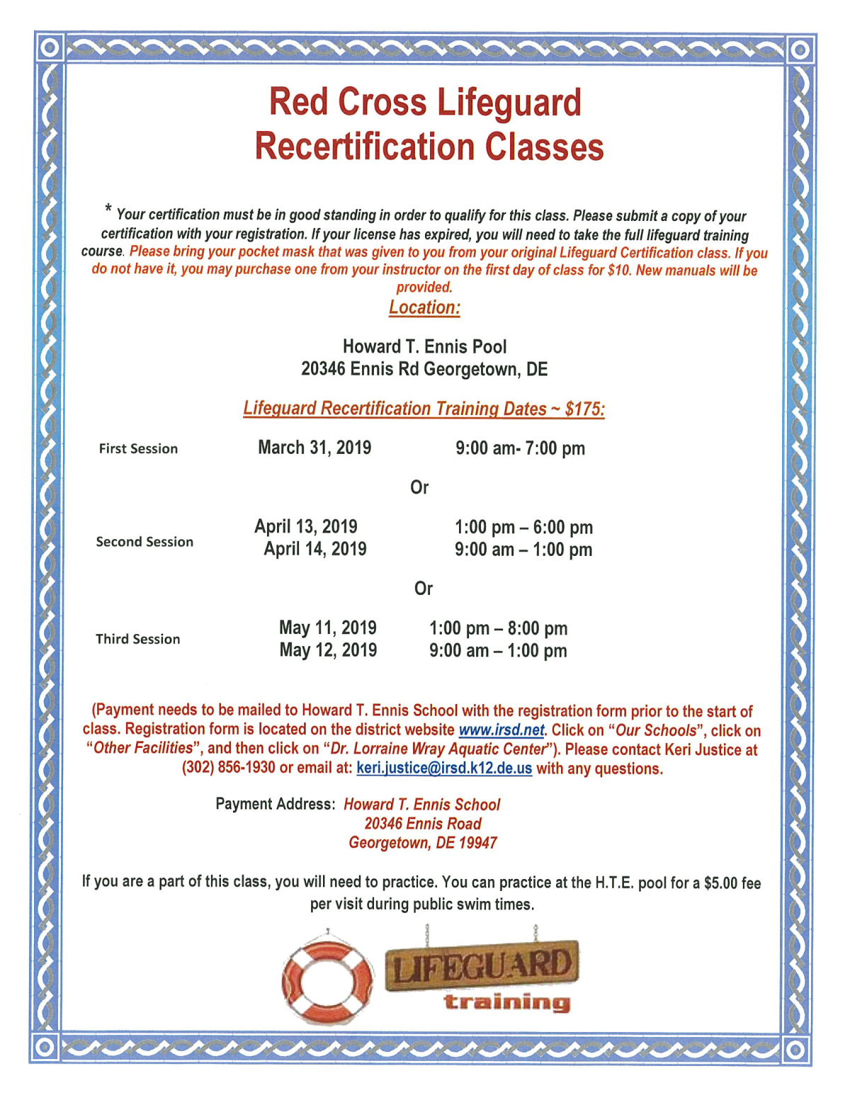 39b3b33a875 Image of a flyer titled Lifeguard Recertification Class