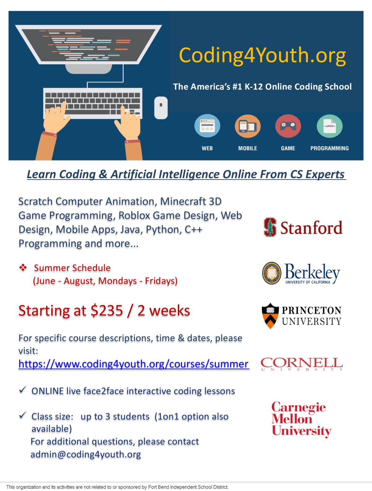 18c2d95dc753 Image of a flyer titled Summer K-12 Coding Lessons Scratch