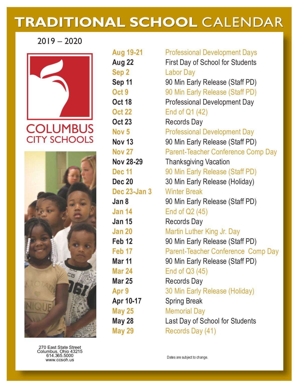 Ccs Calendar 2020 NEW CCS 2019 2020 TRADITIONAL SCHOOL CALENDAR